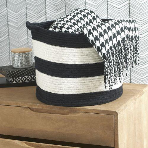 corbeille ray e en coton noire blanche blackstage maisons du monde black white pinterest. Black Bedroom Furniture Sets. Home Design Ideas
