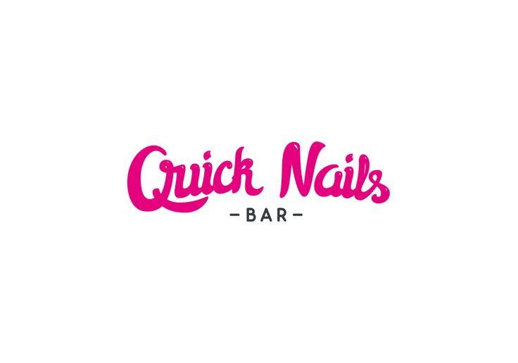 Quick Nails Bar - Nails Logo Beauty, fashion logo, nails lettering, polish,