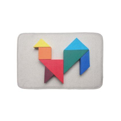 Colorful rooster Tangram Bathroom Mat - home gifts ideas decor special unique custom individual customized individualized