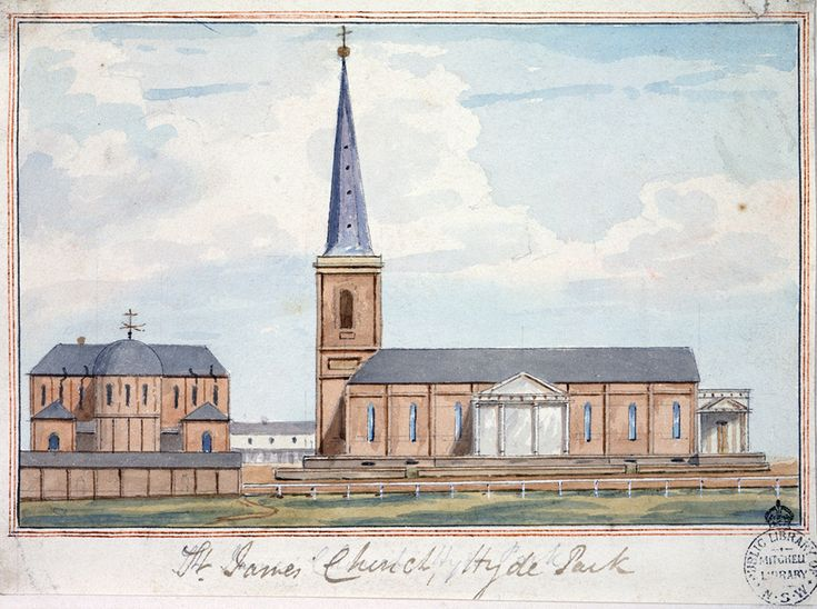 St James Church,Hyde Park at Sydney in the 1840s.