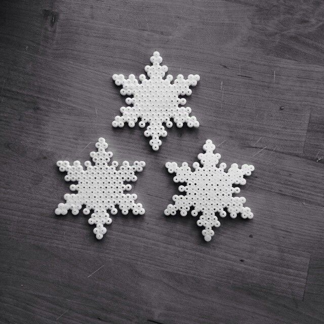 Snowflakes hama perler beads by lechrom