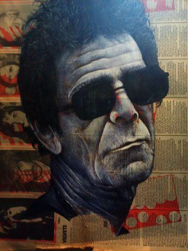 Lou Reed - biro and acrylic on newsprint