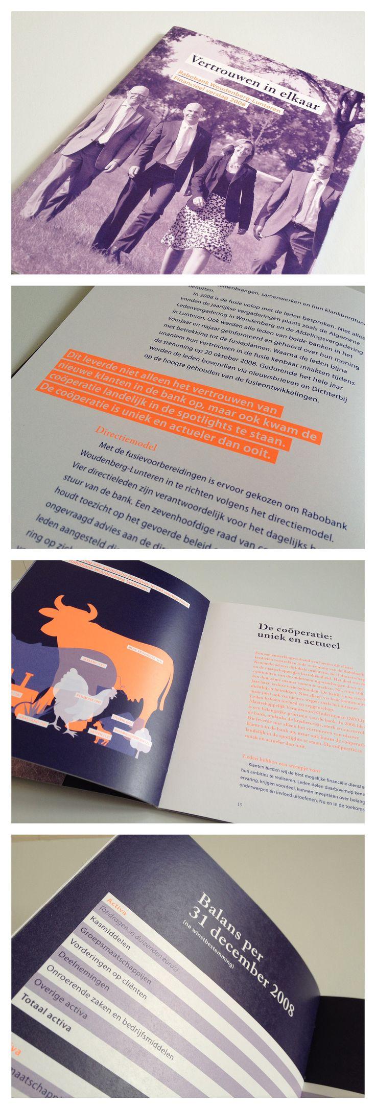 RABOBANK. Jaarverslag Rabobank Woudenberg eo. Concept, ontwerp, infographics en opmaak. Door de fluorinkt een echte eyecatcher.