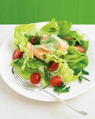 Butter-Lettuce Salad with Poached Salmon and Herbs