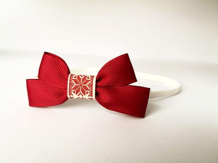 Śliczna opaska kokardka bordo  na święta elegancka - MadebyKaza - Opaski dla niemowląt