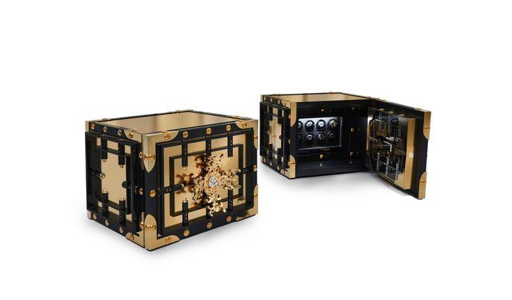 J. Emmanuel Knox WatchWinder Exlusive Furniture #JE #JEmmanuel #Watch #Winder #Glass #Gold #Artwork #Sophisticated #Safest #Treasure #Guard #Precious #Possession #MetalWork #Luxury #GroupeLuxe