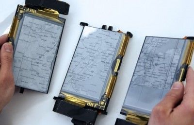 Paperfold scientist has created the world's first foldable cell phone that changes to a tablet and a record book utilizing a set of screens and pivots.