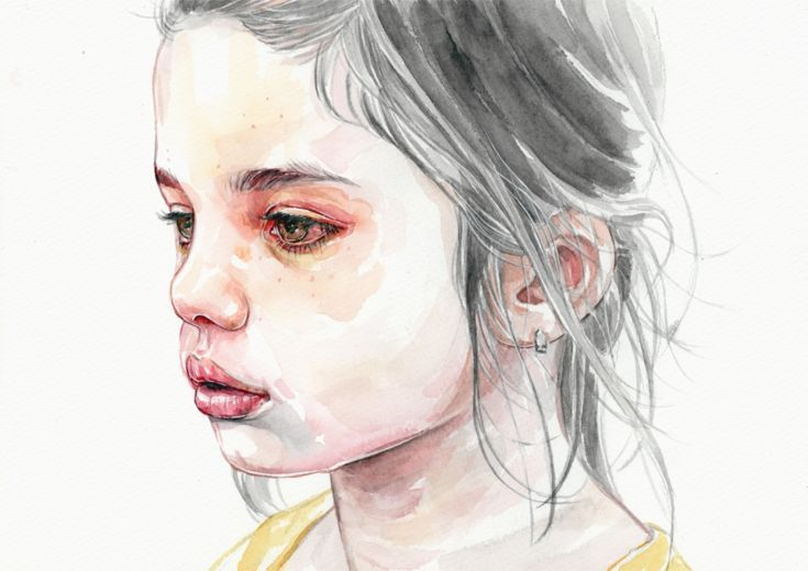 ARTFINDER: Liar by Tomasz Mrozkiewicz - Original watercolor painting This is one of the few paintings from my series that follows the red and yellow theme. I used a little girl as a reference as...