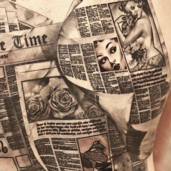 Newspaper style tattoo
