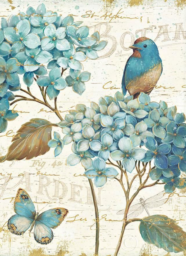 "Daphne Brissonnet Blue Garden III Print - Demand Lithograph on Paper 24"" x 24"" #Impressionism"