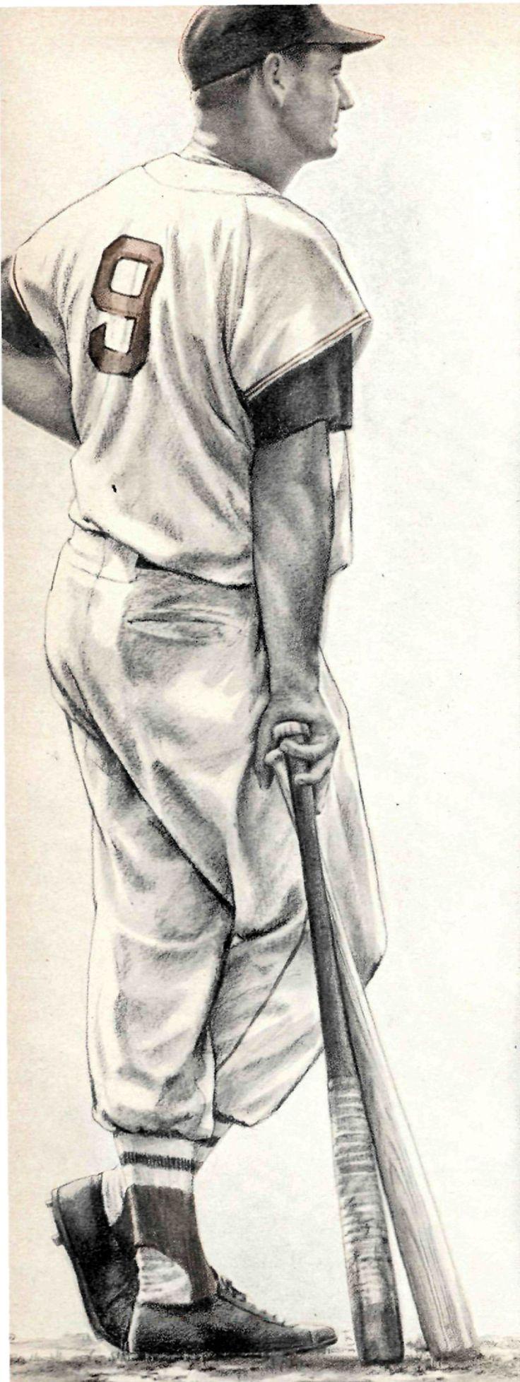Robert Riger illustration of Red Sox slugger Ted Williams.