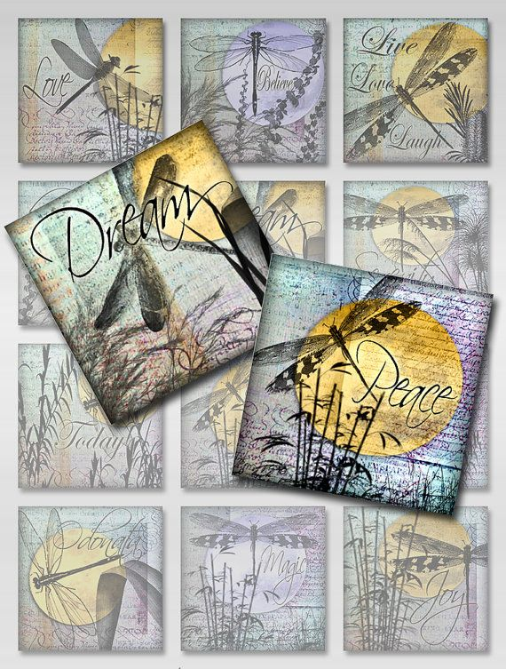 Dragonflies Moon Ephemera Inspirational Words Square Instant