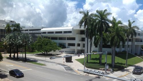 Miami Beach city hall as seen from the 17th Street garage.