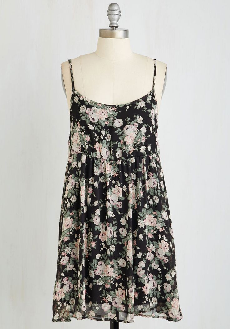 Progressive Frock Dress. You knew just what youd wear the moment you scored tickets for tonight's outdoor concert - this black floral dress, of course! #multi #modcloth