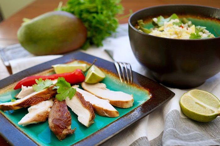Matcha-smoked chicken with mango rice salad