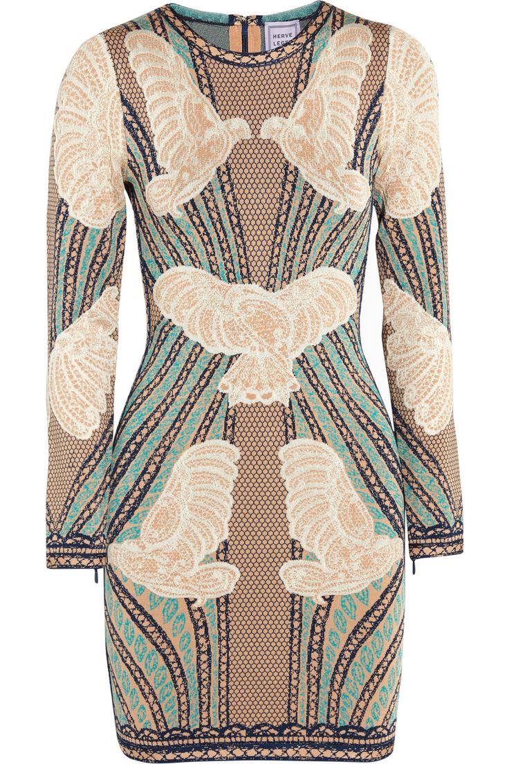 HERVE LEGER Jacquard-knit mini dress. #herveleger #cloth #dress