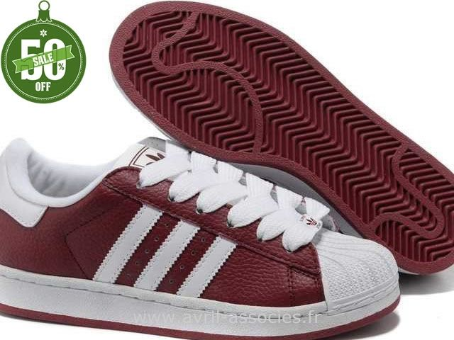 Officiel Hommes Adidas Chaussures Superstar II Blanc Rouge (Adidas Concord Round Pas Cher)