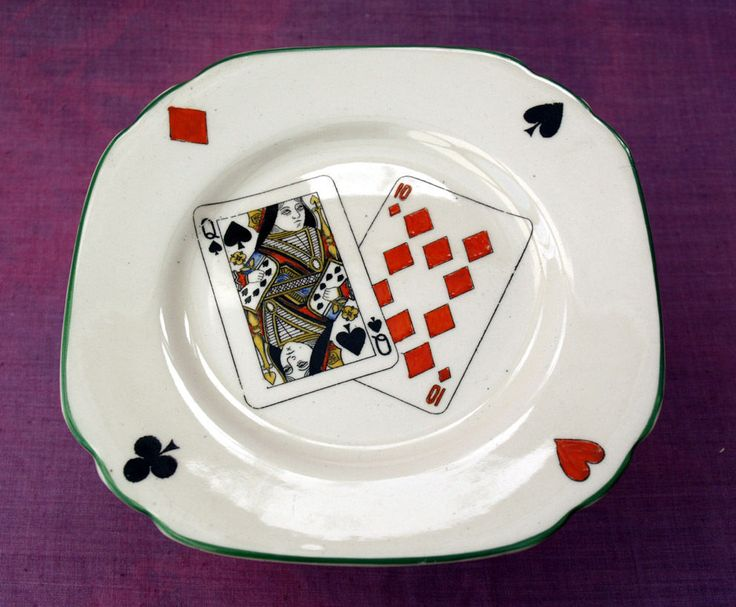 Booths Silicon china 6  square tea plate with playing card design. c1930