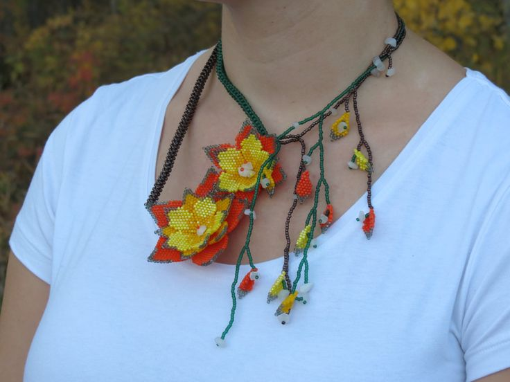 yellow, orange, green and bronze vine flower necklace by ShelzBeadedJewelz on Etsy