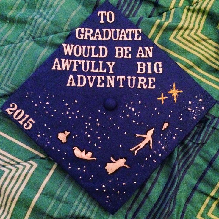 My graduation cap! #gradcap #Disney #peterpan #handpainted