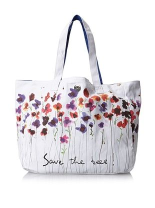 35% OFF IZAK Women's Save the Bees Reversible Tote with Matching Wallet, Blue/Nautural, One Size
