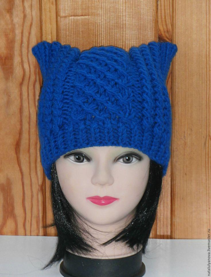 Купить Шапка- кошка,шапка с ушками,котошапка.вязаная шапка - синий, абстрактный, котошапка, шапка