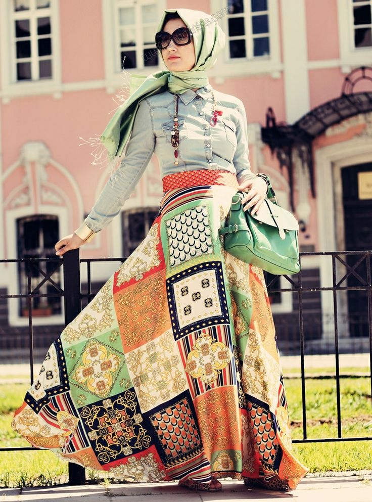 hijab skirt .. turkey .. modanisa store... Desenli Etek 31 - Mint - Minel Aşk