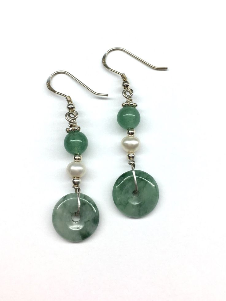 Jade Earrings - Green Jade Disc Safety Buckles (平安扣) with Freshwater Pearl and Green Aventurine Bead 925 Sterling Silver Earrings by RitaCollection on Etsy