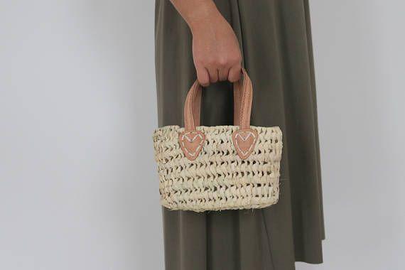 Natural Basket with Leather Handles, small, Beach Bag, Straw Bag, handmade, summer bag, handbag.