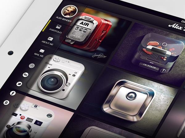 iPad Mobile Portfolio by Alex Bender, via Behance
