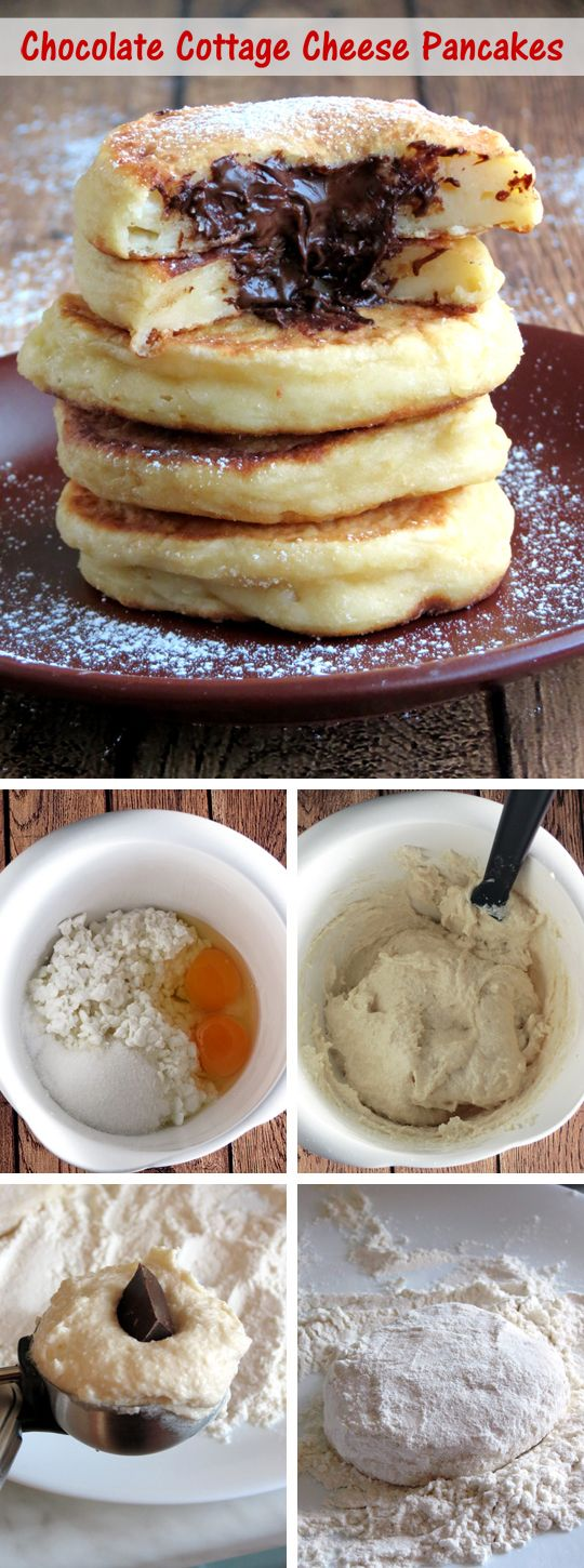 Cottage Cheese Pancakes With Chocolate Filling | YummyAddiction.com