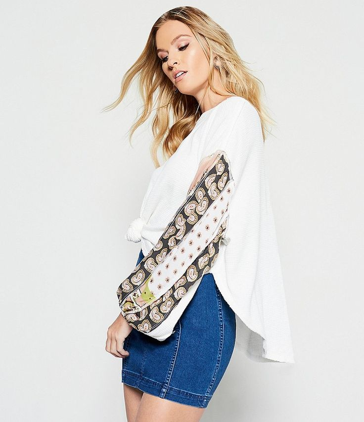 Ivory:Free People Blossom Thermal Printed Balloon Sleeve Blouse