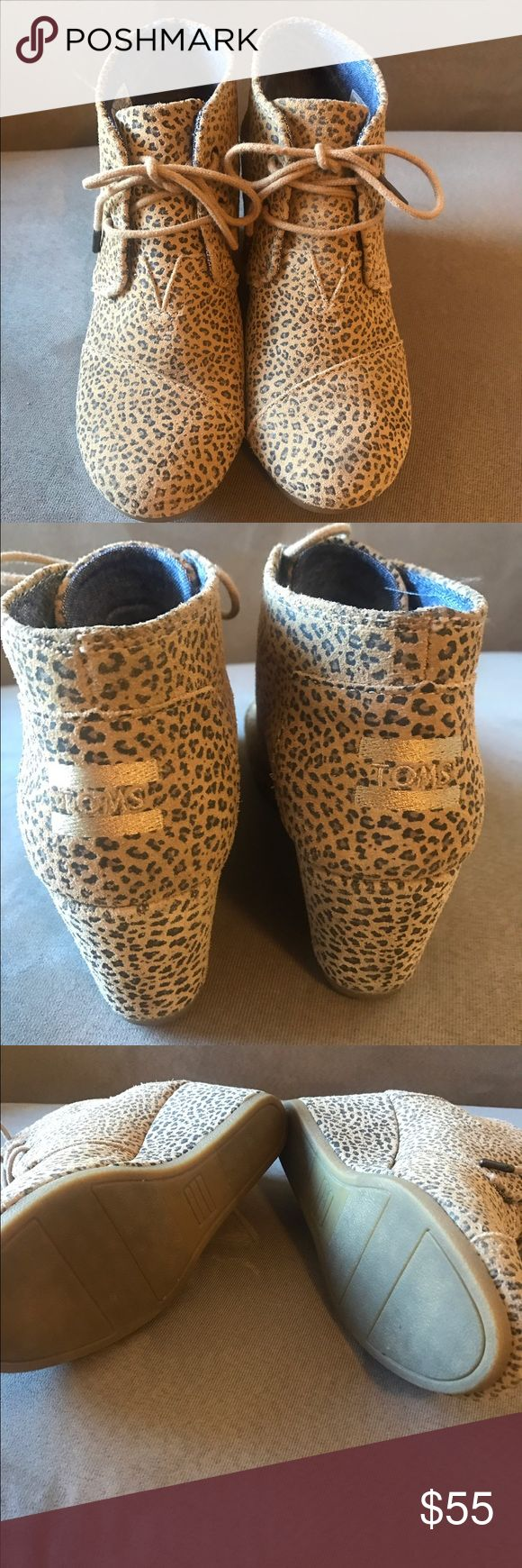 TOMS Desert Wedge Booties animal/cheetah/leopard The cutest wedges, this pattern is neutral enough to go with everything, while adding some flair. The interior is denim. Worn once, great condition! I live in a sandal climate so these are just sitting in my closet. Everything ships within 24 hours! 😘 TOMS Shoes Ankle Boots & Booties
