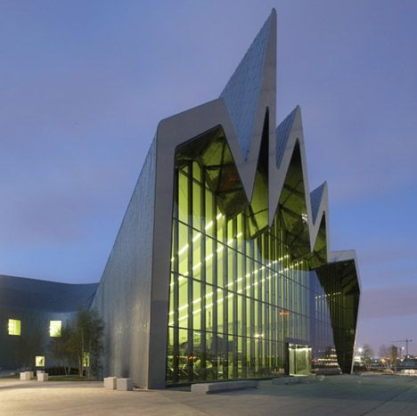 Zaha Hadid Architects , Riverside Museum in Glasgow with a zig-zagging, zinc-clad roof.