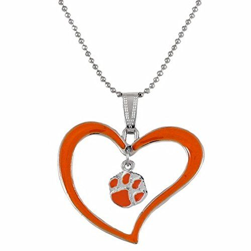 Rosemarie Collections Women's Clemson University Orange Heart with Tiger Paw Charm Pendant Necklaced
