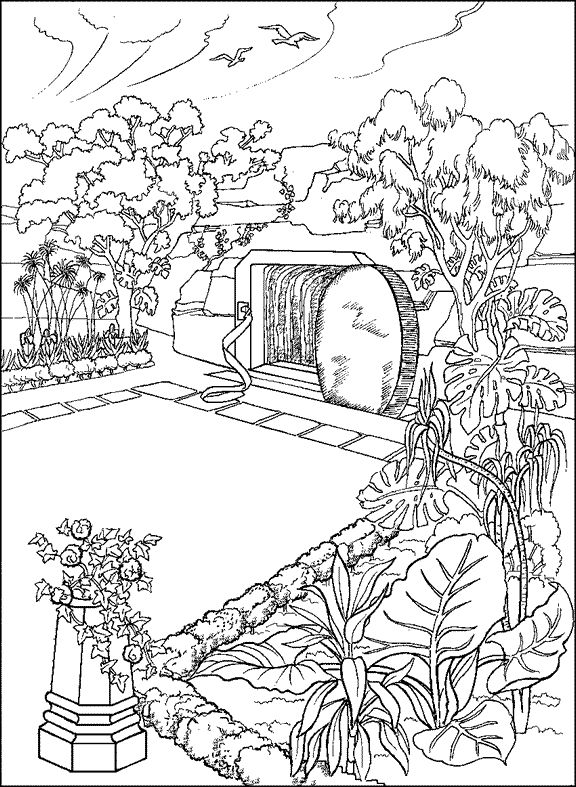 empty tomb coloring pages | The empty tomb in the garden | Coloring: Bible: NT ...