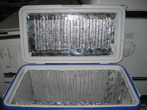 """Line your cooler with Reflectix (aluminized bubble wrap). You can find it at most home improvement stores. It was invented to insulate homes and buildings. Smart campers came up with the idea to use Reflectix to keep the heat out and the cold air in coolers. Cut the Reflectix into pieces that fit, lining the inside of your cooler, including the top/lid. You can even throw a sheet of Reflectix over the outside of your cooler to further insulate it."""