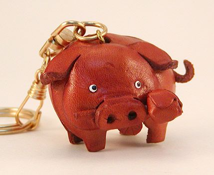 Leather Piggy Key Ring (012082)