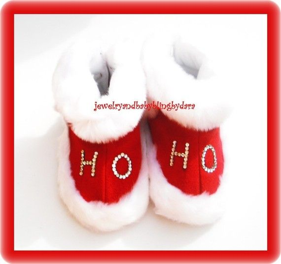 Baby Bling Red Suede White Fluff Ho Ho Crystal Christmas Slippers