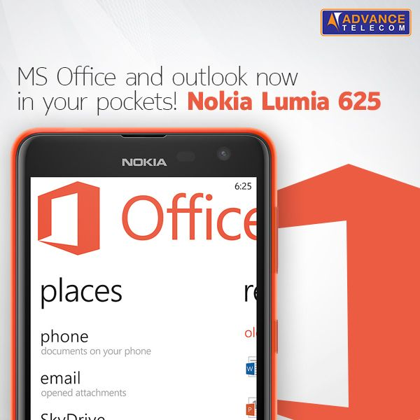 MS Office and Outlook is just a tap and pocket away with the big and beautiful #Lumia625!