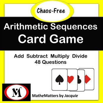 48 Questions + 48 Answers + Classroom Tested =  Kids love this gameThis is a Teams-Games-Tournament teaching strategy.A comprehensive game for learning and consolidating Arithmetic Sequences. Students can play alone, with a classmate or with  parents.This material covers: * given a sequence of three terms, the student develops the general formula using the arithmetic formula in which d is positive or negative but there are no fractions in the a1,d or the sequence. [ 12 questions ] * lesson…