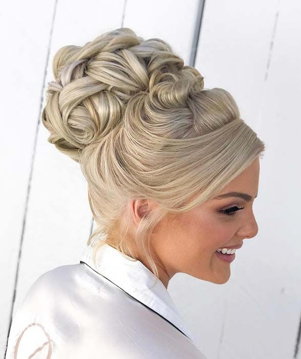 Elegant High Bun Updo For Brides Bride Updo Bride Hairstyles Wedding Hairstyles Updo