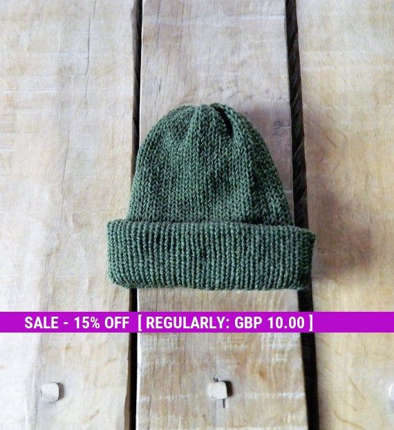 Mens knit hat, Green knit hat, Mans head wear, Reversible hats, Hand made Knitted hat, Earthy, Thick Wool hat, Winter warmer, gift for him
