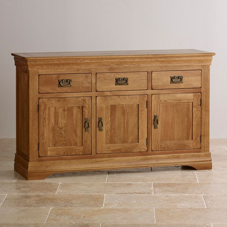 French Farmhouse Solid Oak Large Sideboard with hand crafted dovetailed joints and free delivery. A fine addition to any room with ample storage space.