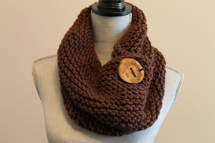 Handmade Coffee Brown Knitted Cowl with Wooden Branch Button by FunkieFrocks on Etsy