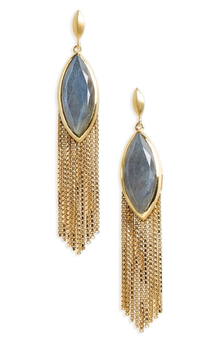 Fluid box-chain tassels sway gently from stunning semiprecious stones in these handmade, statement-making drops plated with precious metal.