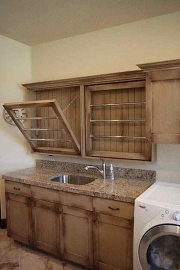 built in drying racks in laundry room ideas for our new home pint. Black Bedroom Furniture Sets. Home Design Ideas