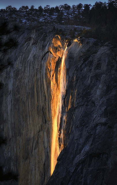 Yosemite Firefall.  Every February in Yosemite, the Horsetail Falls turns to lava with the help of a two-minute illumination at sunset. See a variety of shots and camera setups for this picturesque event.