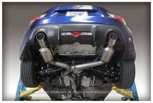 """GReddy Scion FR-S 2013-ON Evo3 Exhaust. Car Make:Scion  Car Model:FR-S  Car Year:2013-    Chassis:ZN6  Engine:4U-GSE Dual muffler Cat-back system  Number of pieces: 2  Piping: 70mm (2.76 in.)  Tip:102mm (4.0"""")  Gasket:70mm oval (qty: 2 included)  Resonator: Yes  Silencer:Yes, 2 removable  Weight: 35 lbs  HP:+7 hp  TRQ:+6.3 ft-lbs  Sound level: TBA  *Data collected on stock vehicle*Retains catalytic convertor, front pipe"""