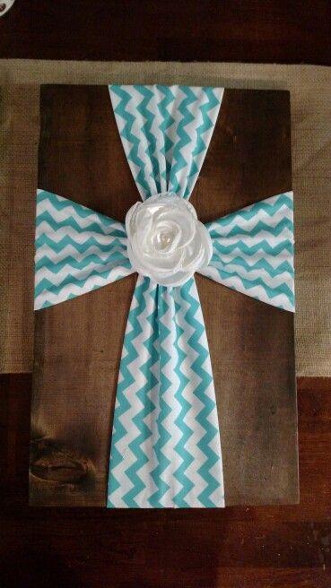 Fabric cross on wood 2